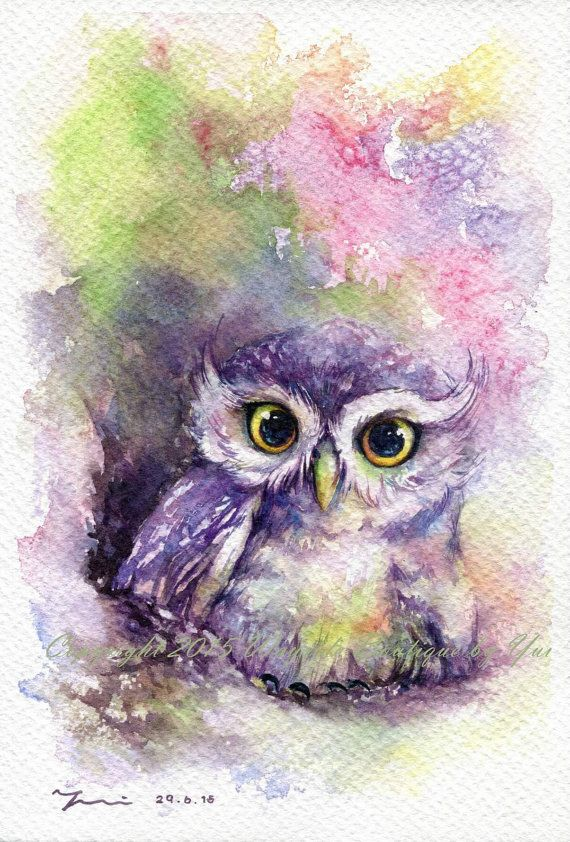Imprimer Arc En Ciel Aquarelle Hibou 7 5 X 11 Owl Watercolor