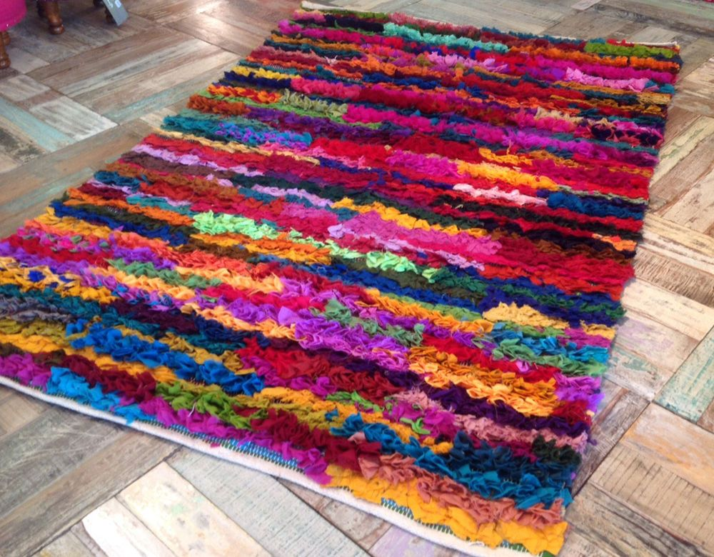 Amazing Bright Colourful Multi Coloured Hand Loomed Large Shaggy Rag Rug Tapetes