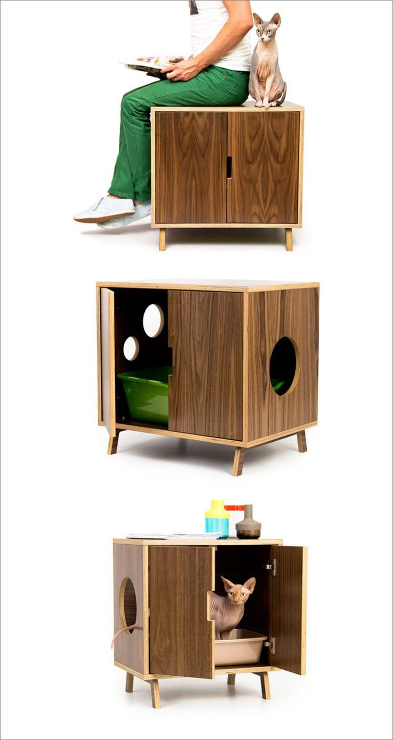 These Mid Century Modern Inspired Cabinets Hide A Cat S Litterbox Pet Furniture Cat House Diy Diy Litter Box
