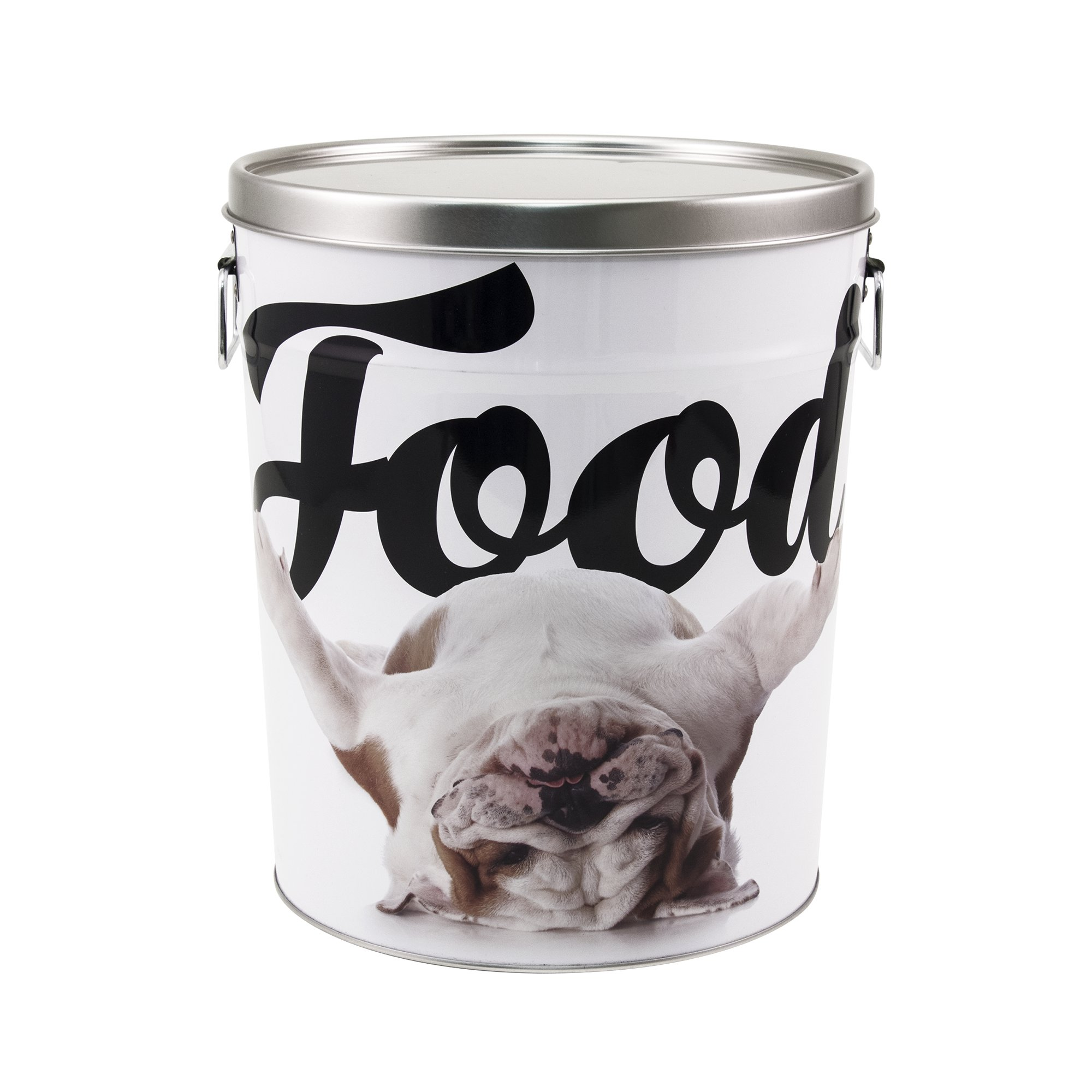 Paw Prints Tin Food Bin Bulldog 15 Lbs Capacity Small White