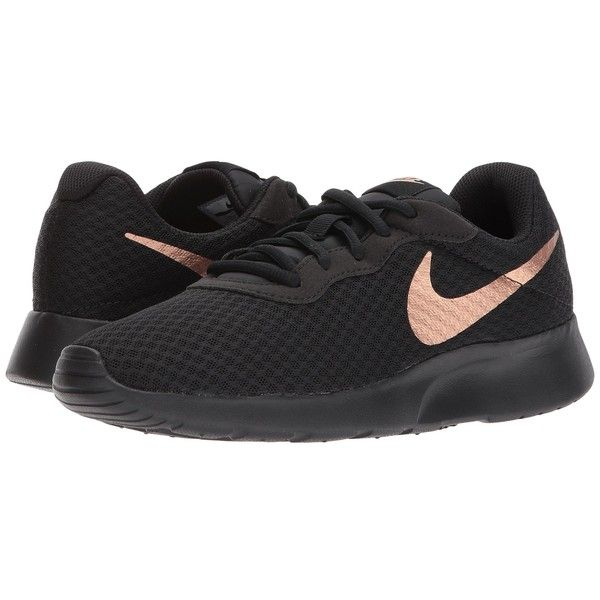 38a11528ff8 Nike Tanjun (Black Metallic Red Bronze) Women s Running Shoes ( 65) ❤ liked  on Polyvore featuring shoes