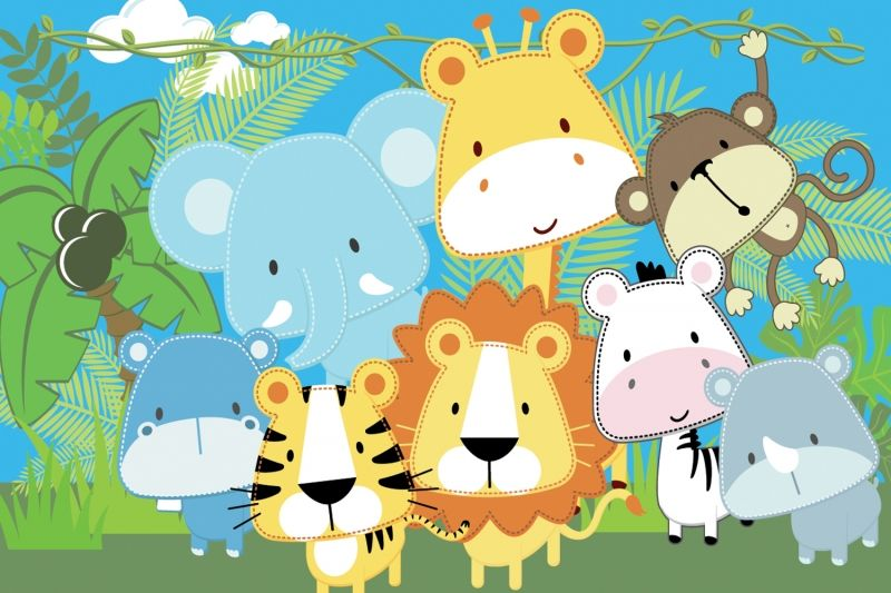 Popular Jungle Animals Wallpaper-Buy Cheap Jungle Animals ...