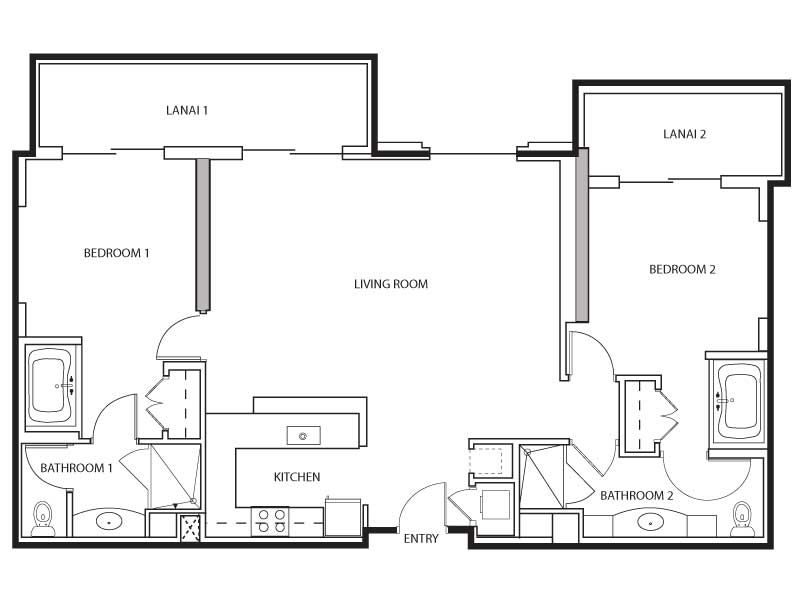 Two Bedroom Floor Plan For Grand Waikikian Hotel By Hilton Grand Vacations Club In Honolulu