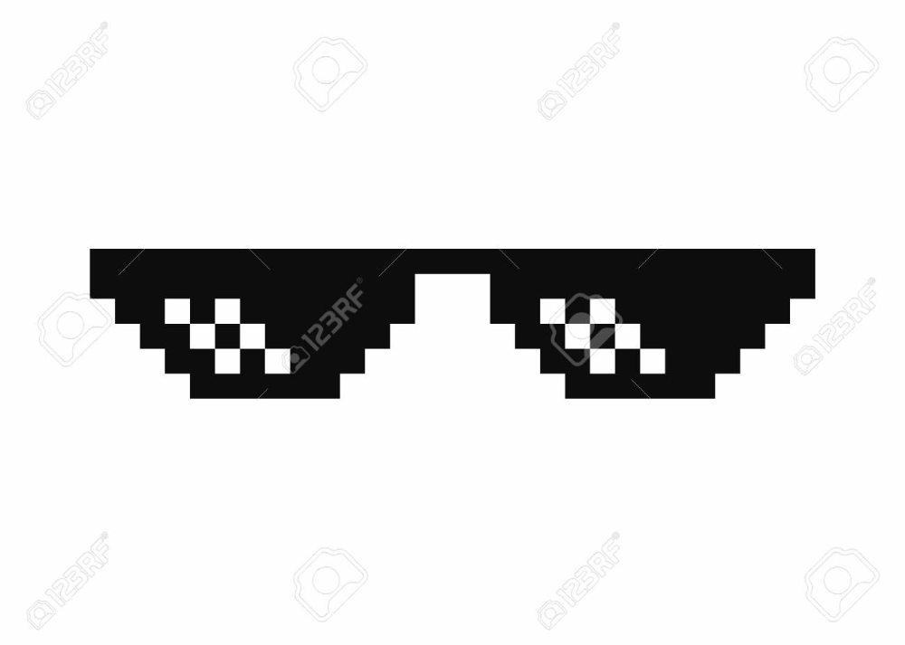 Pixel Art Glasses Thug Life Meme Glasses Isolated On White Background Pixel Art Thug Life Meme Art