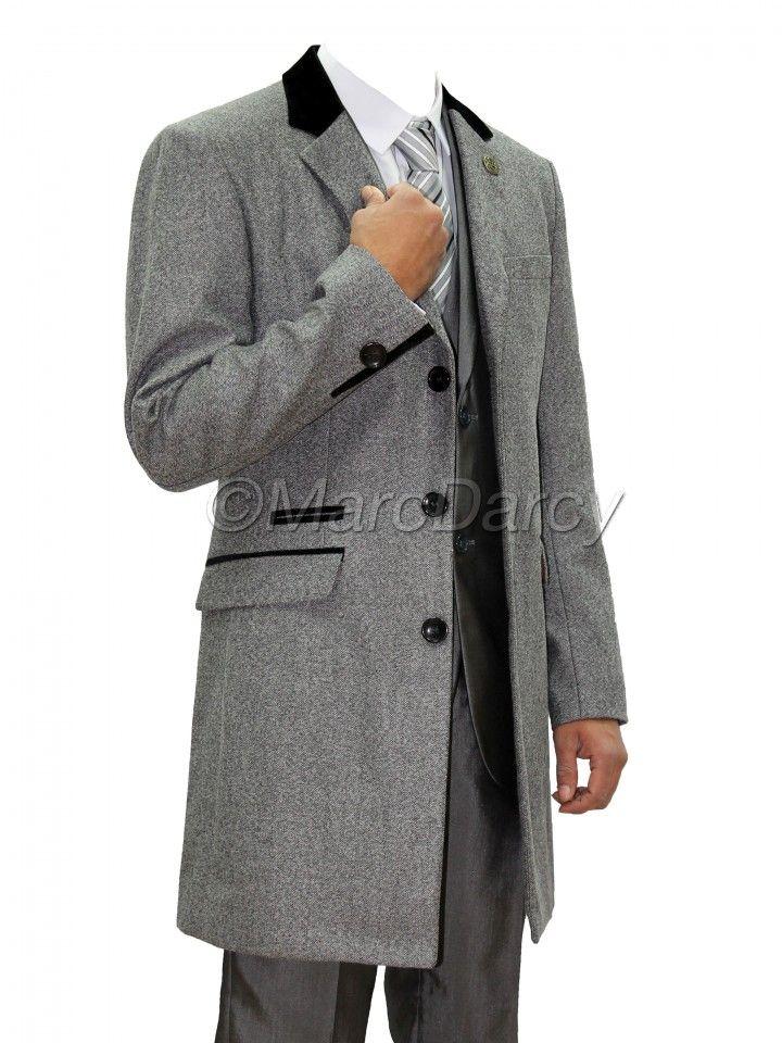 Mens Light Grey Designer Herringbone Tweed Winter Overcoat