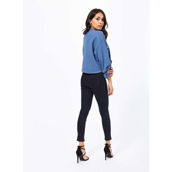 Miss Selfridge Blue West Coast Sweatshirt ($44) ❤ liked on Polyvore featuring tops, hoodies, sweatshirts, blue, long sleeve slouchy top, slouchy tops, miss selfridge, blue sweatshirt and cropped sweatshirt