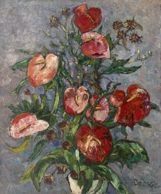 'Jacobus' Johannes Doeser (1884-1970) A still life with anthurium, oil on canvas. Collection Simonis & Buunk, The Netherlands