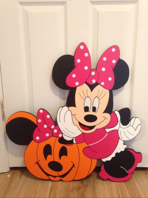 minnie mouse with a pumpkin halloween yard art decorations - disney christmas yard decorations