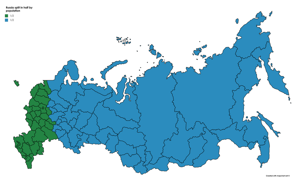 Russia split in half by population europe Maps of Russia