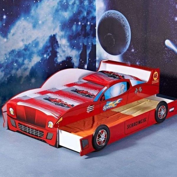 Kids Single Mdf Racing Car Bed Frame W Trundle Red Car Bed Car Bed Frame Race Car Bed