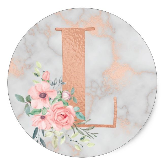 Rose Gold Marble Pink Flowers Monogram Letter L Classic Round Sticker Zazzle Com In 2021 Rose Gold Marble Monogram Wallpaper Gold Marble Wallpaper