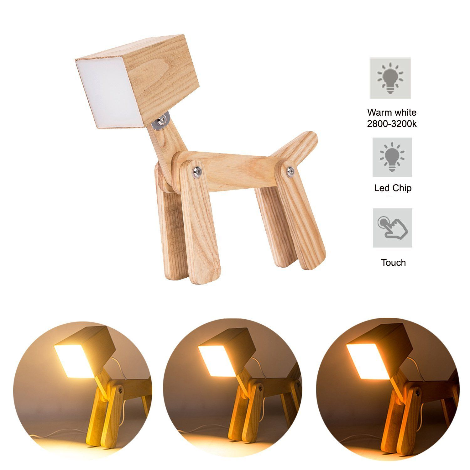 Hroome Cute Wooden Dog Design Adjustable Dimmable Bedside Table Lamp Touch Control 6w For
