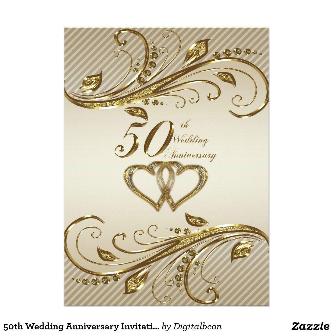 50th Wedding Anniversary Invitation Card Zazzle Co Uk 50th Wedding Anniversary Invitations 50th Anniversary Cards Anniversary Invitations