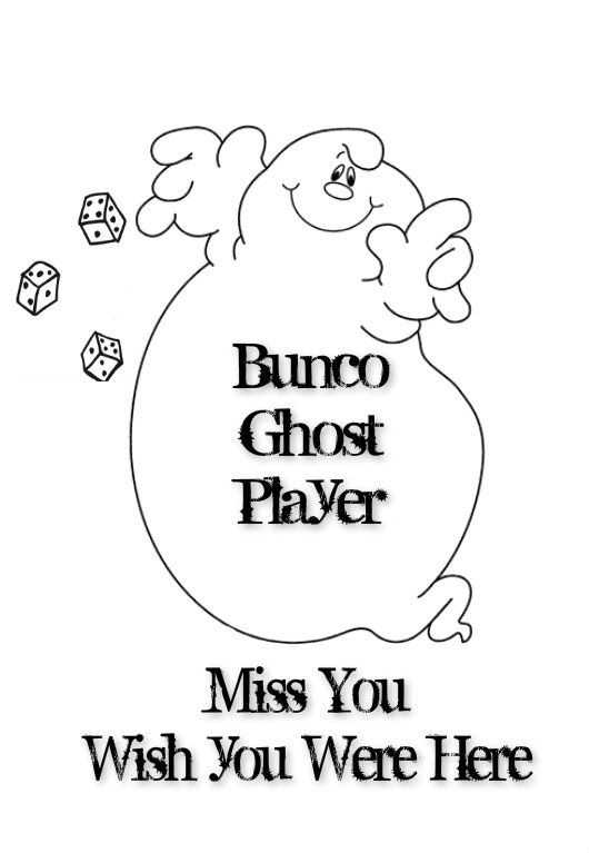 Bunco Ghost Player Card. Print on White Cardstock and