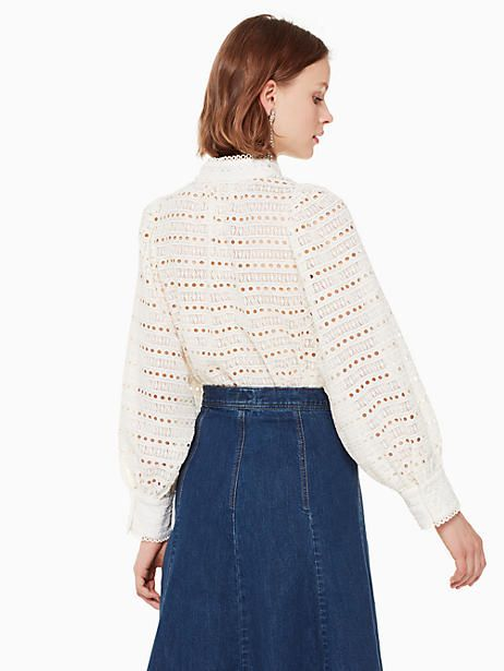 172b2bf7e3 Kate Spade Lace Cris Top, French Cream - Size M | Products | Tops ...