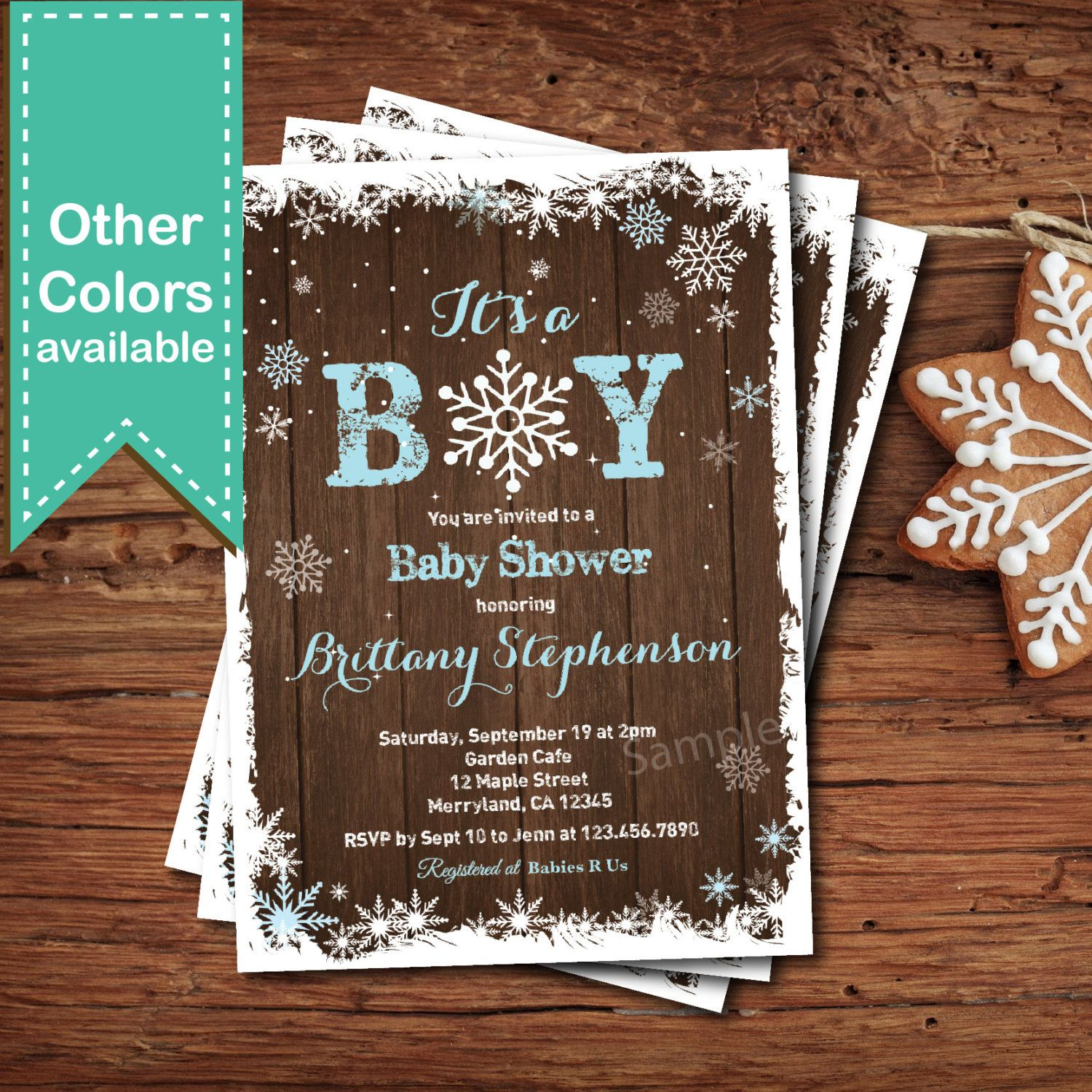 Winter baby boy shower invitation Rustic wood snowflakes couple