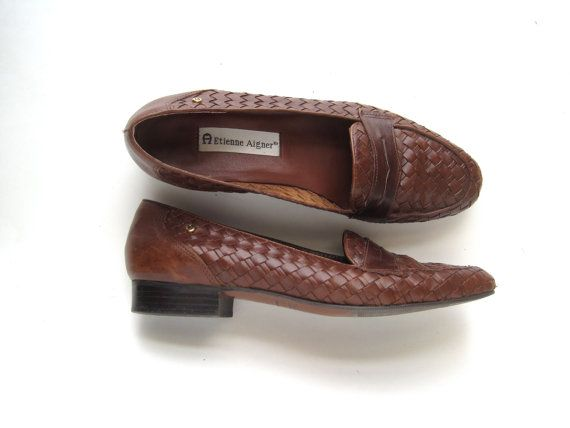 Etienne Aigner  handcrafted  leather uppers loafers