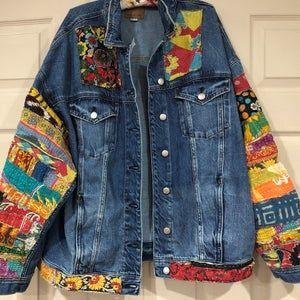 jean jacket hippie boho embellished colorful denim jean jacket