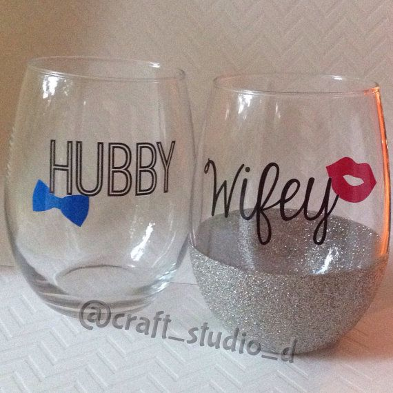 Wedding Set Stemless Wine Gles Hubby Wifey His And Hers Gift Bridal Glitter Dipped