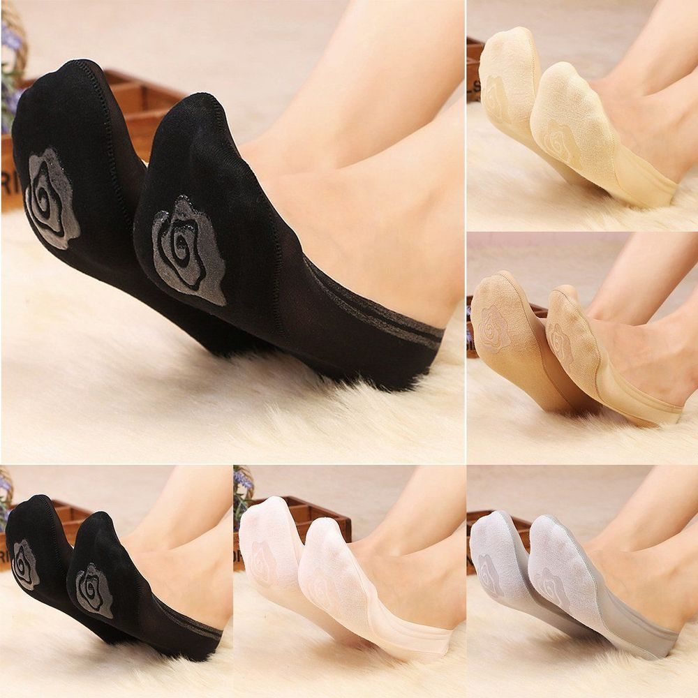 Women Soft Invisible Nonslip Loafer Lace Boat Liner Low Cut Cotton Boat Socks