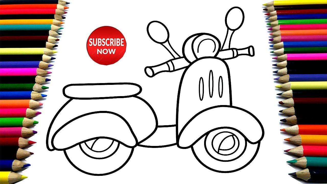 Cara Menggambar Sepeda Motor Balap Mewarnai Gambar How To Draw A Mot Sepeda Motor Drawings Draw
