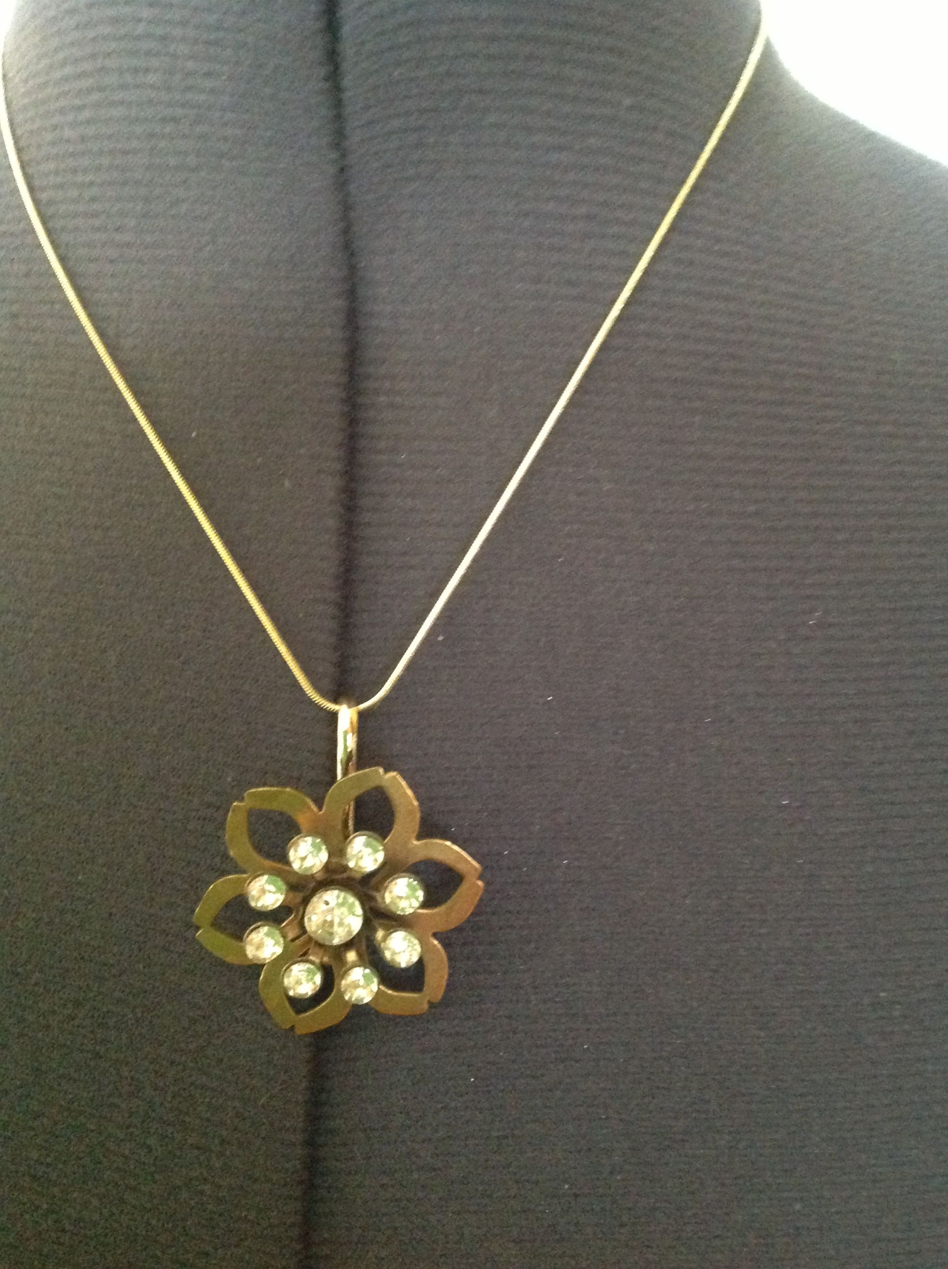 """Vintage pin pendant on 18"""" gold plate chain.  $25."""