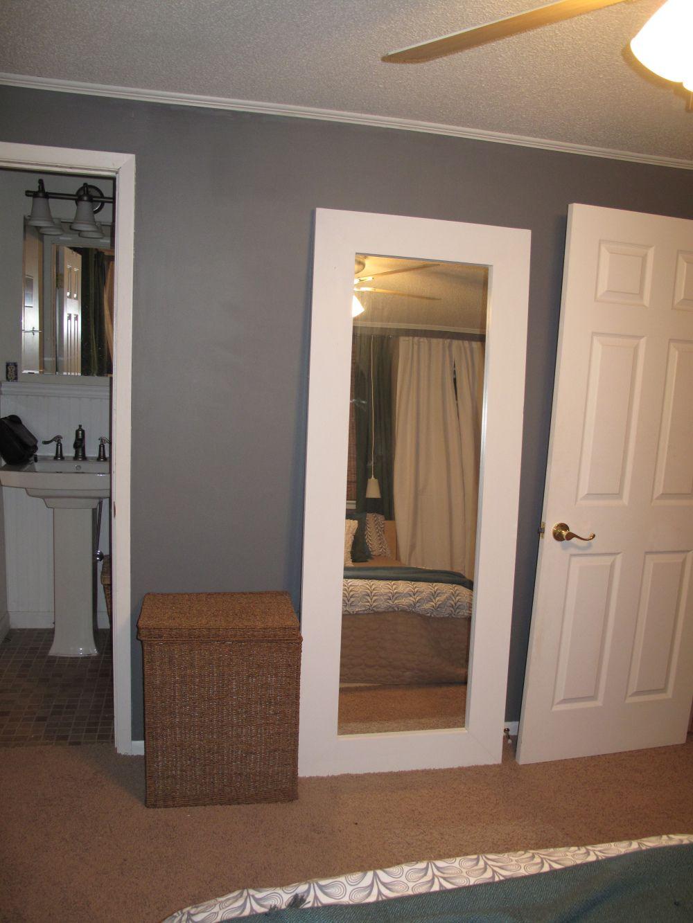 Chunky wood frame wallfloor mirror diy sliding mirror