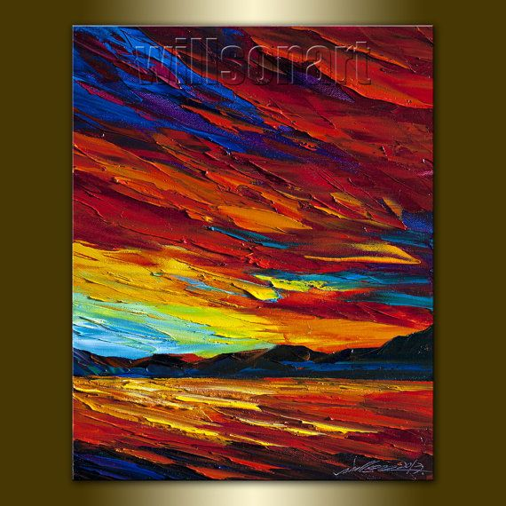 Original Seascape Painting Sunset over the Sea Oil on Canvas Textured Palette Knife Abstract Modern Art 16X20 by Willson via Etsy