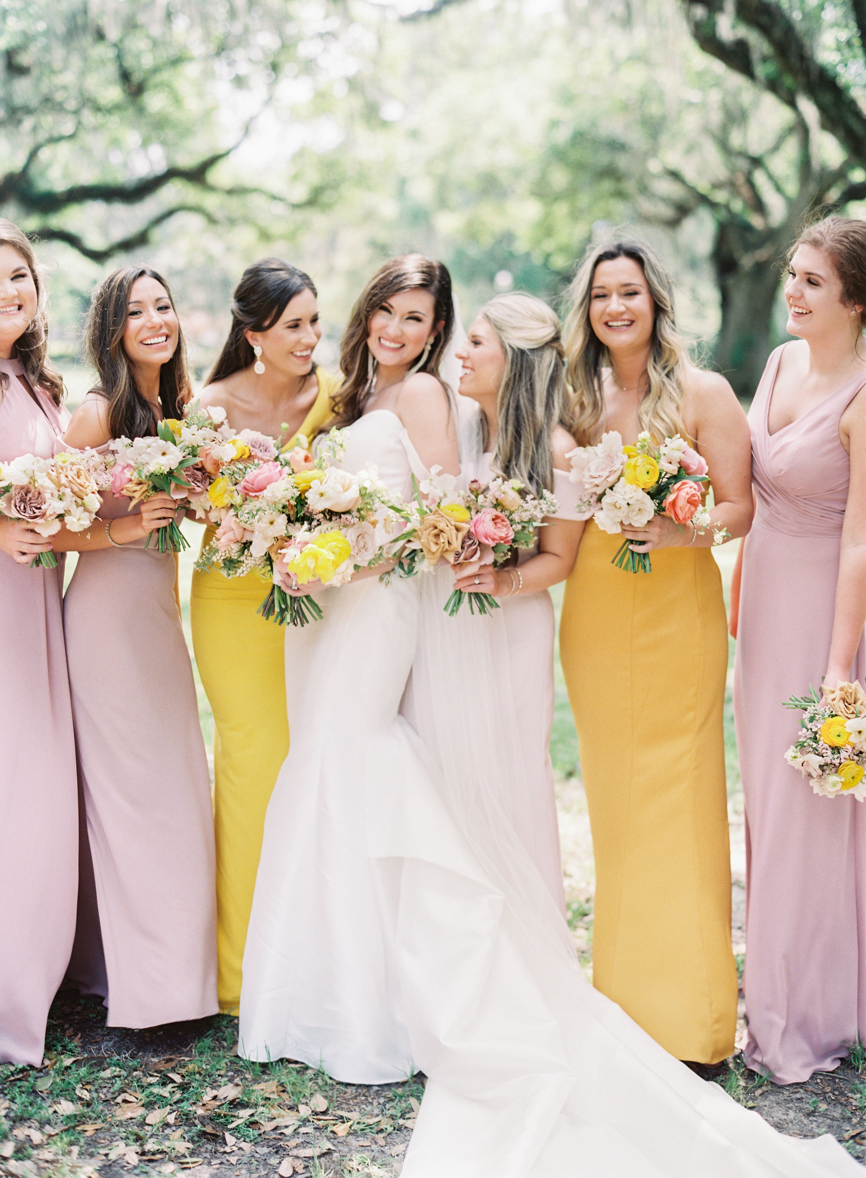 Yellow And Purple Bridesmaids Dresses And Colorful Bouquets Yellow Bridesmaid Dresses Purple Bridesmaid Dresses Purple Bridesmaids