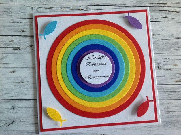 einladungskarte zur kommunion (regenbogen) | roter hintergrund, Einladungsentwurf