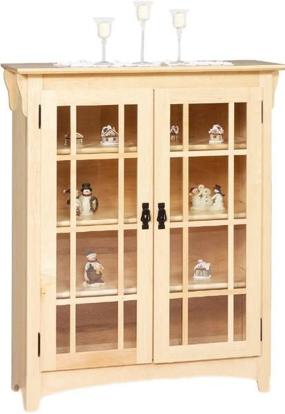 Amish Double Door Small Mission Bookcase Choose The Wood Mullion Detail And Glass Option For This
