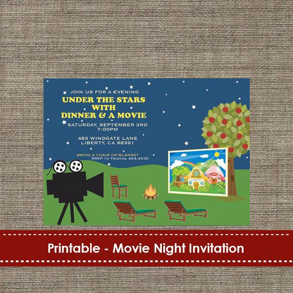 backyard under the stars movie night invitation diy printable in