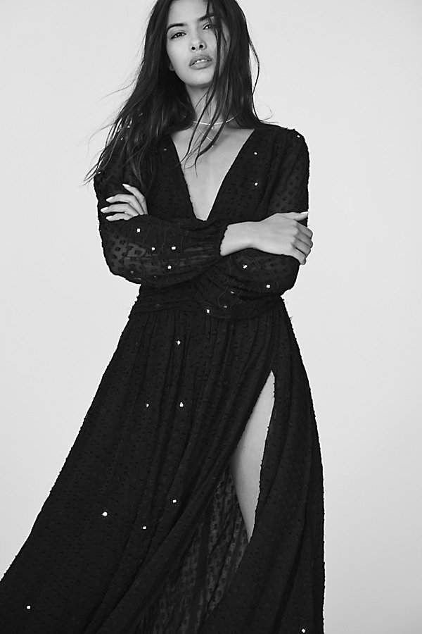 149305f300 Embellished Lapis Maxi Dress by Free People Textured maxi dress embellished  with allover mirror accents. #fashion #style #shopping affiliate