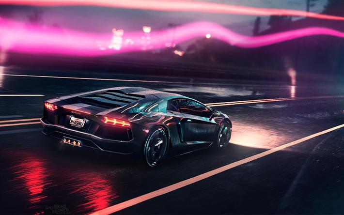Lataa kuva yö, Lamborghini Aventador, superautot, neon valot, Lamborghini