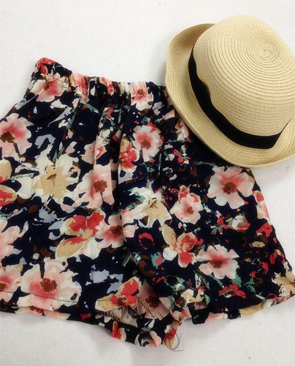 #CHOIES #FOLLOW Floral Print Chiffon Shorts
