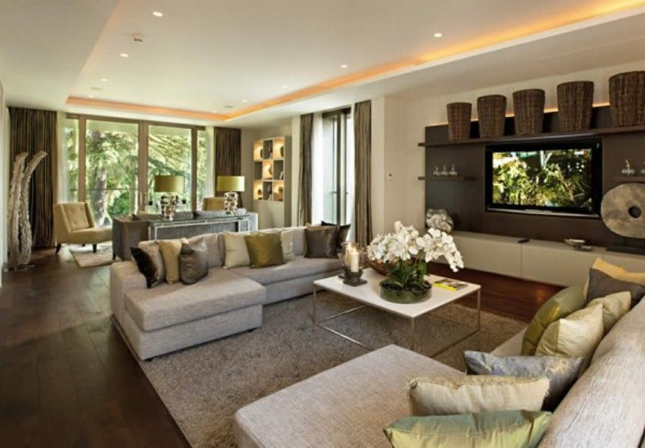 Decoration Luxurious Grey Sofa Set Combined With Wall Mounted TV