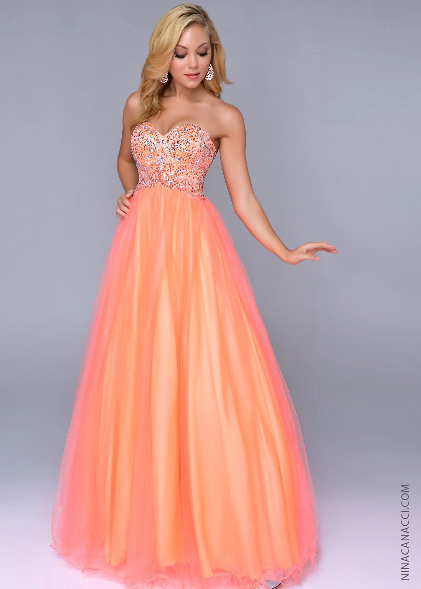 Peach Neon prom dresses pictures video