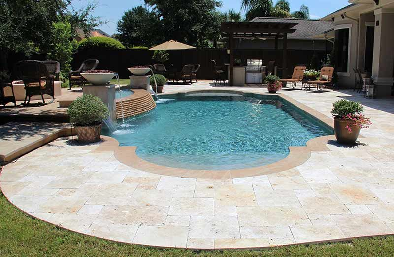 Roman Shaped Pool In Yard With Tan - Google Search | Swimming Pool