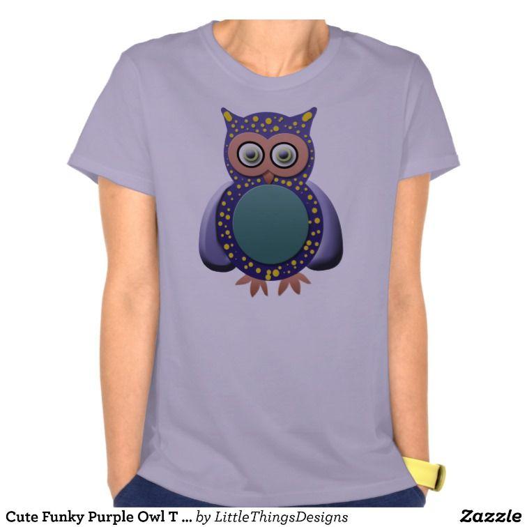 Cute Funky Purple Owl T Shirt