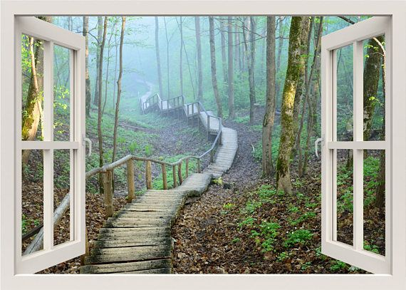bridge in a forest wall decal, 3d window wall decal, window view