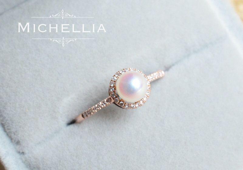 Pearl Wedding Rings.Nova Pearl Engagement Ring Petite Halo Diamond Ring In Akoya Pearl
