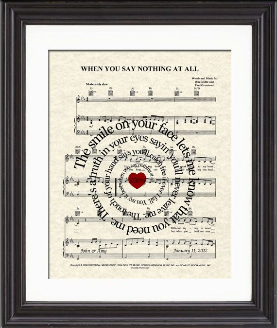 When You Say Nothing At All Song Lyric Sheet Music Print With