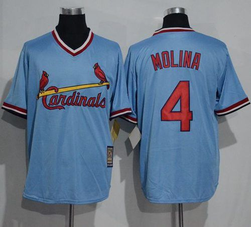 new product 80dc3 8a2d8 Cardinals #4 Yadier Molina Blue Cooperstown Throwback ...