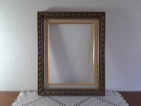 Vintage Gold Wood Antique White Linen Picture Frame 12 X 16 Photo Decoration Mid Century Hollywood Gold Wood Picture Frames Photo Decor