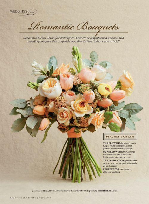 Southern Living Weddings The Nouveau Romatics Peach Bouquet Peach Bouquet Wedding Bouquets Cream Wedding Bouquet