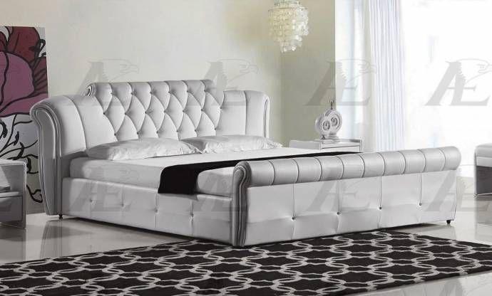 American Eagle Furniture B-D032-W White PU Queen Size Tufted