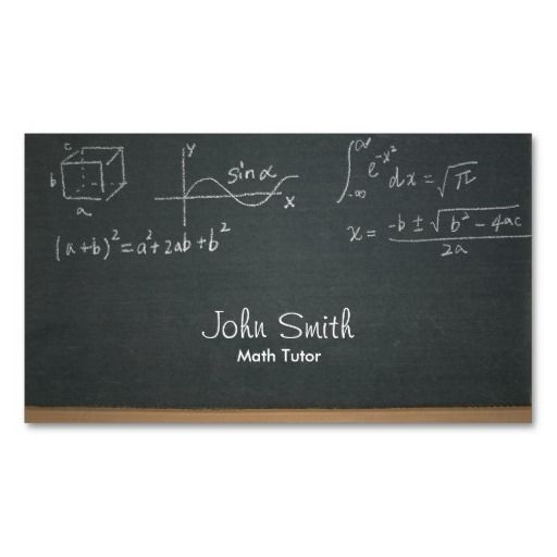 Math Tutor Professional Chalkboard Business Card Math Tutor Math