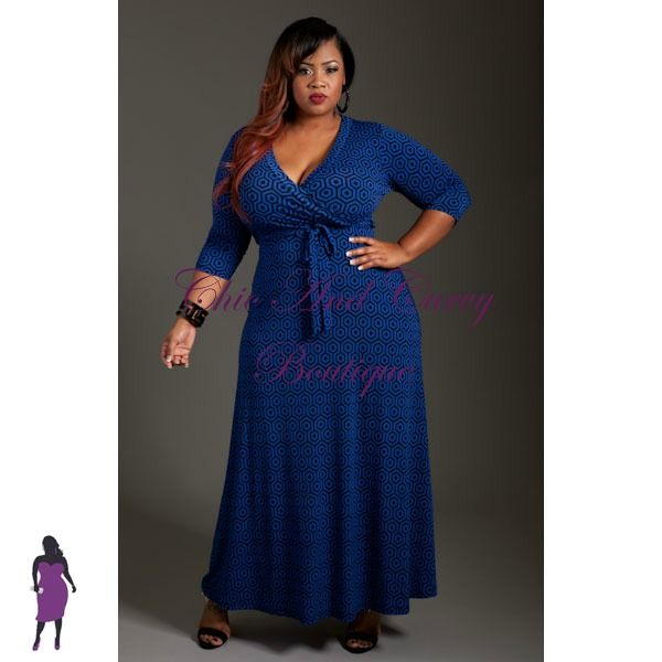 New Plus Size Long Dress with Front Faux Wrap in Royal Blue and ...