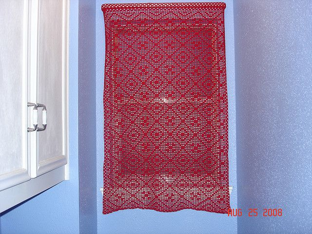plarn (plastic bag yarn)  crocheted curtain