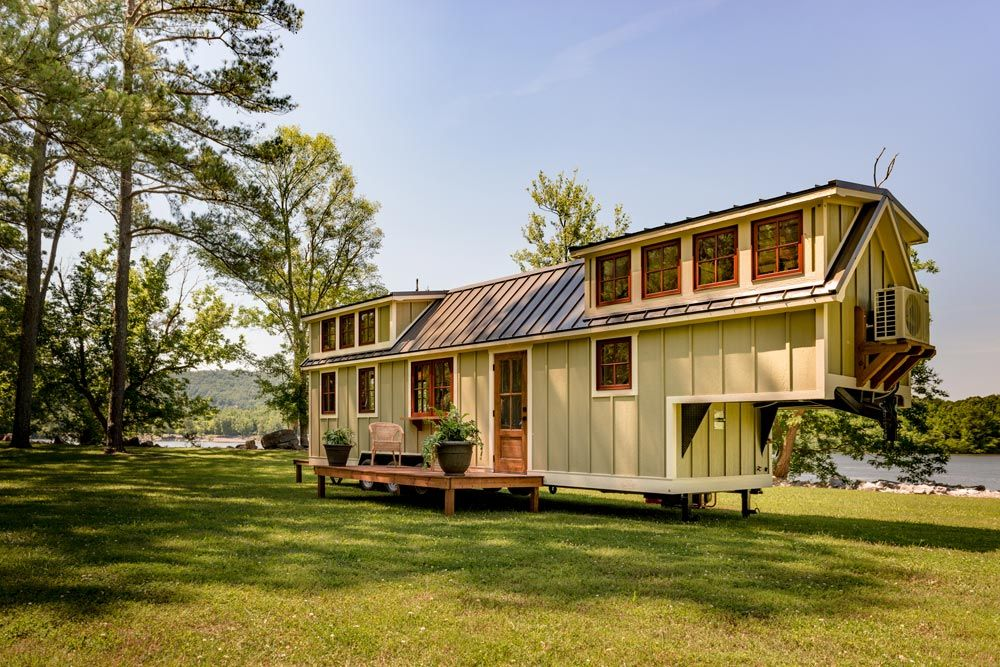 This gooseneck tiny house includes 23 wood